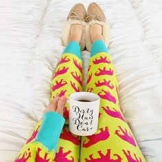 "@lawrenbagley has the right idea! How cute are her pajamas and our ""Dirty Hair Don't Care"" mug is very fitting for a Monday! // Speaking of this mug @whimsygirldesign is giving one away today. Go enter and wish her a Happy Birthday! {Also availability in our shop.} by thesisterstudioig"