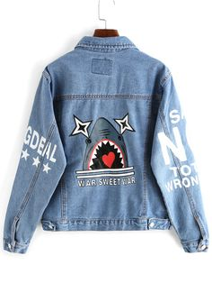 Lapel Shark Print Pockets Buttons Denim Coat
