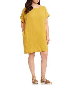 da56e07788 Shop for Eileen Fisher Plus Size Ballet Neck Short Sleeve Dress at Dillards .com.