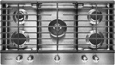 """""""With 5 burners that provide between and BTUs of heat, this KitchenAid built-in gas cooktop allows you to rapidly boil water for pasta, melt chocolate and more. The CookShield finish helps make cleanup quick and easy. Stove Oven, Kitchen Stove, Kitchen And Bath, New Stove, Stainless Range Hood, Stainless Steel Oven, Laundry Room Appliances, Summit Homes, Whirlpool Dishwasher"""