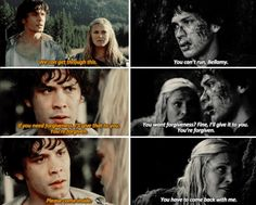BUT STUPID CLARKE STILL LEAVES EVEN THOUGH SHE SAID THE SAME THING TO BELLAMY!
