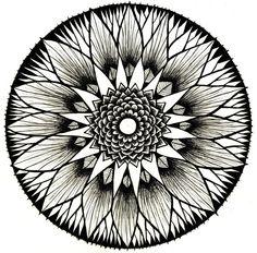 Flaür Paür Mandala black & white 11 square print by MagickMagpie