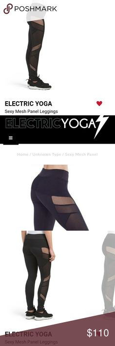 $110 Electric Yoga Sexy Mesh Panel Leggings Mesh Panels along the sides making one look and feel sexy. Great support for both a work out and on the streets. Fabric content: 88% polyester 12% spandex. Original retail price: $108 plus tax/shipping. ***NOT FOR SALE*** at the moment. FOLLOW my closet! Electric Yoga Pants Leggings