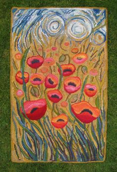 Hooked Rugs Field Of Poppies By Bev Duncan