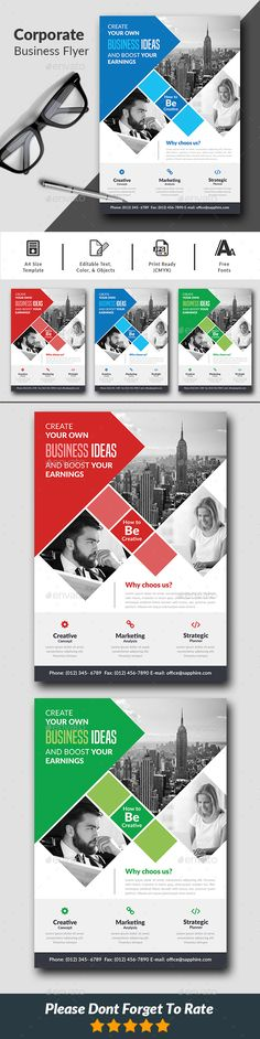 Corporate Flyer Corporate Business Flyer  is a professional, clean, & creative Corporate Flyer template designed to make a good impression.  ................................................  Features :  - Editable in adobe photoshop  - Professional design  - Uses free fonts  - All objects, colors, & text are editable