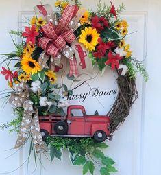 Red Truck Wreath, Red Truck Summer Wreath, Farmhouse Wreath, Sunflower Red Truck Wreath, Cotton Wreath, Sassy Doors