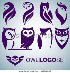 owl logo set - stock vector