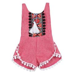 8049a1a89843 Aztec Pom Pom Romper Baby Girl Romper