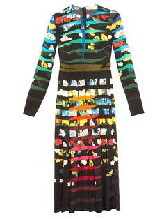 MARY KATRANTZOU Erba Flowers Stripe-print silk-chiffon dress