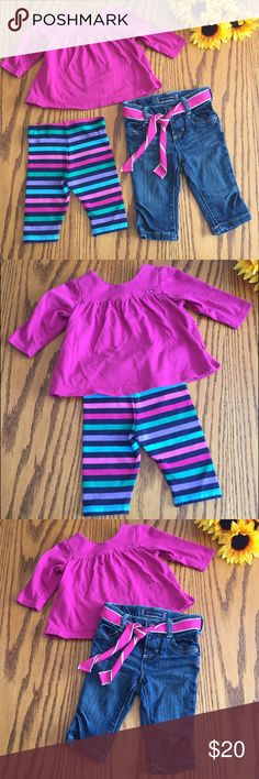 Tommy Hilfiger 3 piece set. Shirt/leggings/jeans Excellent condition. Tommy Hilfiger 3 piece set. Shirt/leggings/jeans. 3-6 months Tommy Hilfiger Matching Sets