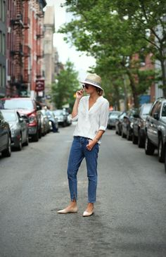 hat and white shirt...