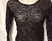 FREE SHIPPING black & silver sparkle lacy top sz small vintage circa 80's  ladies party wear Disco