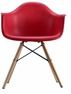Mid Century Modern Molded Arm Red Metal Plastic Chair With Wood Leg  Furniture