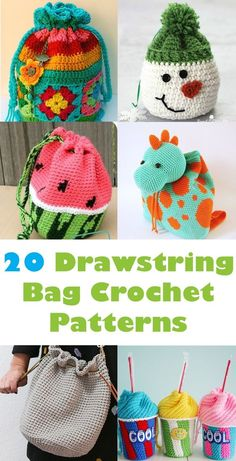 20 Bag Crochet Patterns - Cute and Colorful - A More Crafty Life de ganchillo para la compra Crochet Drawstring Bag, Crochet Backpack, Bag Crochet, Crochet Shell Stitch, Crochet Purses, Cute Crochet, Crochet For Kids, Crochet Stitches, Crochet Baby