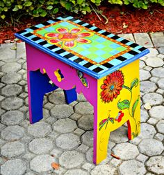 Funky Painted Bench. $75.00, via Etsy.