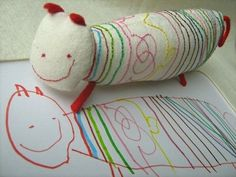 custom toy made from a child's drawing. love this idea.