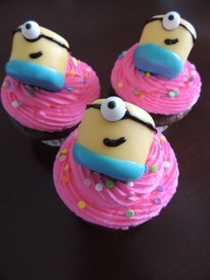 Minion Cupcakes - pink icing for girl's bday party