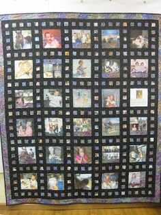 How to make a memory quilt--this could represent film for a photographer. How to make a memory quilt Strip Quilts, Panel Quilts, Baby Clothes Quilt, Baby Quilts, Memory Quilts, Easy Sewing Projects, Sewing Hacks, Foto Memory, Photo Quilts