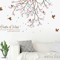 tree branch birds wall stickers decals peaceful autumn style plants wallpaper pegatinas home room TV bakground furnishings