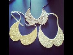 DIY Peter Pan Collar necklaces.  would be cute to do glitter.  and then put ribbon on with cute pearl buttons or rhinestones sewed on