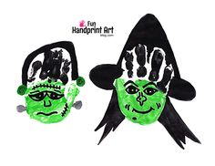 Let's make a Halloween handprints! More specifically, a Frankenstein and witch craft. Easily make these with your toddler's little hands and older!