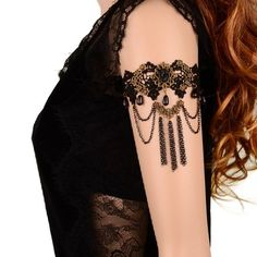 Yazilind Chain Tassels Black Lace Handmade Arm Chain Upper Armband Bracelet for Women