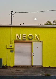 The Neon Ocala by Kimberly Rhodes Roberts Displays, Mellow Yellow, Neon Yellow, Yellow Moon, Interior Exterior, Neon Lighting, Store Fronts, Architecture, Color Inspiration