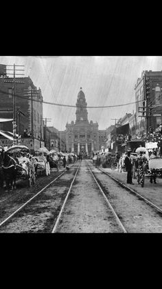 Downtown Fort Worth on Main c1897. That court building centered at the end of Main Street is still standing today and is in excellent condition thanks to a cleaning/face-lift several years ago.