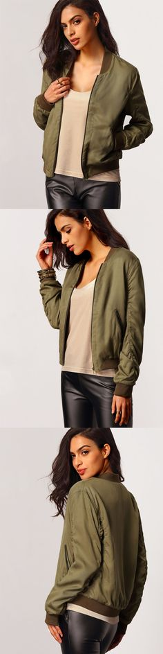 Sporty and edgy, the Round Neck Bomber Jacket features pockets, full length long sleeves and ribbed cuffed accents.Finish the look with pleather leggings, and a chiffon cami!