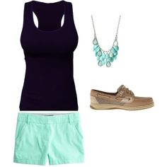 Casual Summer by christine-rosario on Polyvore featuring J.Crew, Sperry Top-Sider and Haskell