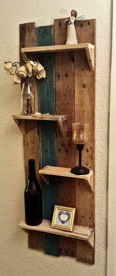 Very easy DIY pallet wood shelves.