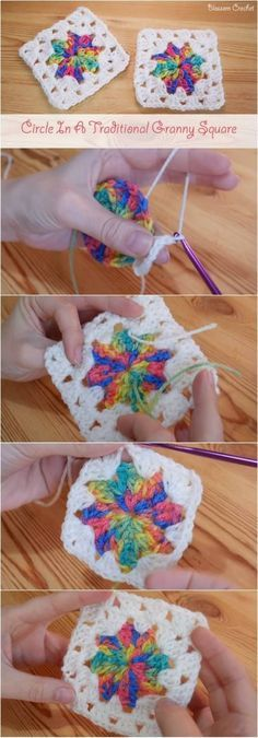 Circle in a Granny Square – Crocheted World This site only has video tutorials...however, if you need help on any pattern they will research to show you.