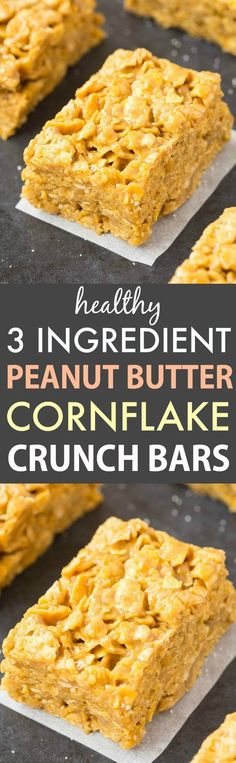 3 Ingredient Peanut Butter Corn Flake Crunch Bars that taste like a cornflake cookie! These peanut butter cereal bars are vegan, gluten free and dairy free! Gluten Free Desserts, Dairy Free Recipes, Easy Desserts, Dessert Recipes, Healthy Recipes, Dessert Healthy, Diet Recipes, Healthy Cake, Healthy Snacks