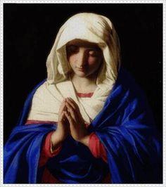 Patrón en PDF para Punto de Cruz de La Virgen en Oracion