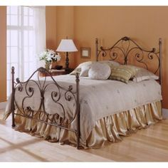 cast iron headboard - and footboard that this time has combined curved lines full of detail with simpler ones that stay in sight at front of bed. Iron Headboard, Headboard And Footboard, Headboards For Beds, Headboard Ideas, Canopy Beds, Queen Metal Bed, Queen Frame, Leggett And Platt, Wrought Iron Beds