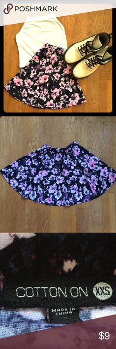 Black, Pink, and Purple Skater Skirt An adorable floral circle/skater skirt from Cotton On! It's in great condition with no flaws. It's marked XXS, but I'm a S and it fits me perfectly. Comment with any questions! Cotton On Skirts Circle & Skater