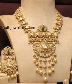 So Ni Antique Polki Diamond Haram and Earrings photo Silver Jewellery Indian, Indian Wedding Jewelry, Indian Jewellery Design, Jewelry Design, Bridal Jewelry, Gold Jewelry, Jewelery, Latest Jewellery, Indian Weddings