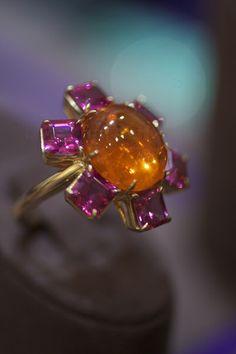 Spessartite garnet cabochon and rubellite tourmaline ring by Goshwara.  Jewellery, jewelry