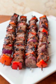 Steak and Pepper Skewers with Cous Cous vs Kebab Recipes, Steak Recipes, Grilling Recipes, Healthy Recipes, Yummy Recipes, Healthy Food, Meat Marinade, Grilled Beef, Barbecue