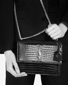 MEDIUM SUNSET BAG IN BLACK CROCODILE EMBOSSED SHINY LEATHER $2290