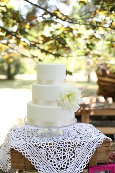 beautiful and simple wedding cake; could do green ribbon; love the lace underlay and crystal cake stand