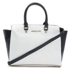 fbaff3979e5ba MICHAEL Michael Kors Large Selma Saffiano Satchel White Black Products  Description   Optic white black