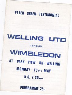 1980s welling united v wimbledon #Football programme (testimonial) from $2.17