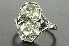 EGL USA Antique 14k White Gold 3 04Ct vs Diamond Blue Sapphire Cocktail Ring | eBay