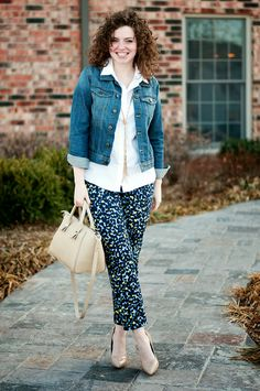 Patterned pants, white shirt (or other button down), denim jacket or brown leather jacket, pendant necklace, nude pumps