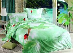 Red Beetle Print 4-Piece Cotton Duvet Cover Sets