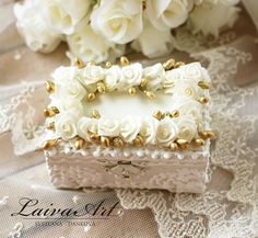 Wedding Ring Bearer Pillow Box Ring Holder Boho Wedding Beach Wedding Gatsby Style Wedding Gold Wedding - pinned by pin4etsy.com