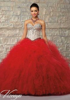 Red And Champagne Quinceanera Dresses Tulle Sweetheart Neck Beaded Crystals Ball Gowns Lace Up Inexpensive Dress For Girl Birthday Party