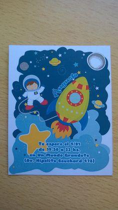 Tarjetas para el cumple de Augusto #Invitations #SpaceParty