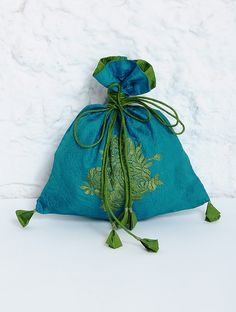Buy Turquoise Green Embroidered Crushed Silk Square Potli Accessories Bags & Belts Indigo Collection and Tussar Cotton Kurtas Palazzos Stoles Potlis Online at Jaypore.com